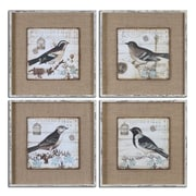 Uttermost Grace Feyock 4-Piece Black and White Birds Wall Art