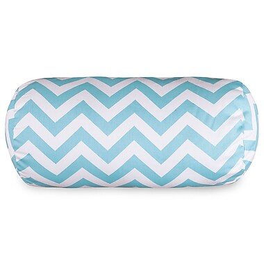 Majestic Home Goods Chervon Cotton Bolster Pillow; Tiffany Blue