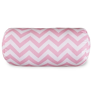 Majestic Home Goods Chervon Cotton Bolster Pillow; Baby Pink
