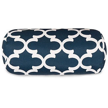 Majestic Home Goods Trellis Round Bolster Pillow; Navy