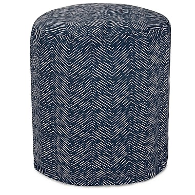 Majestic Home Goods Navajo Small Pouf Ottoman; Navy
