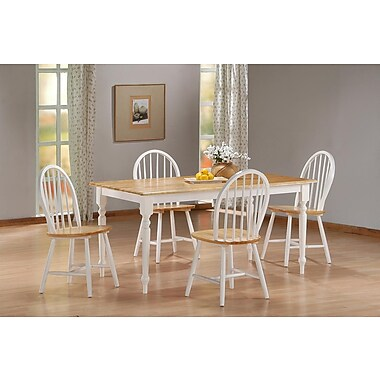 Boraam 5-Piece Farmhouse Dining Set, White/Natural