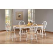 Boraam 5-Piece Farmhouse Dining Set, White/Natural