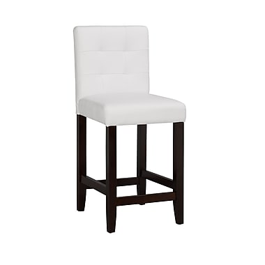 Boraam Lyon 36.25'' Contemporary Legged Base Faux Leather Bar Stool, White (82224)