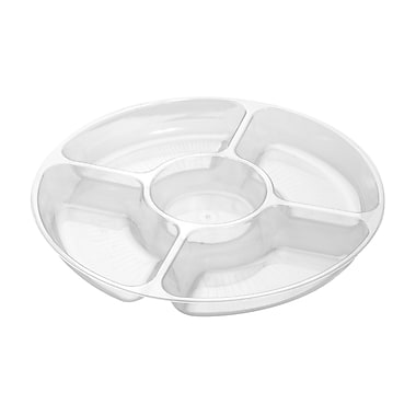 Fineline Settings Platter Pleasers 3506 Five Compartment Tray, Clear