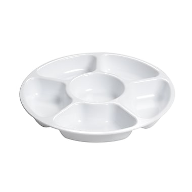 Fineline Settings Platter Pleasers 3521 Six Compartment Tray, White