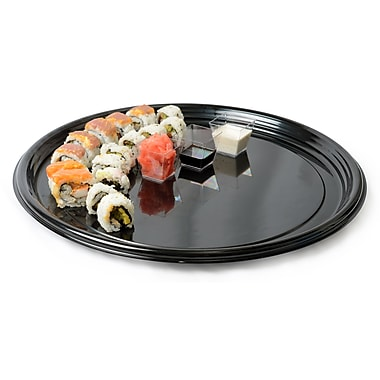 Fineline Settings Platter Pleasers 7810TF Black Vintage Round Tray
