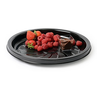Fineline Settings Platter Pleasers 8210TF Black Majestic Round Tray