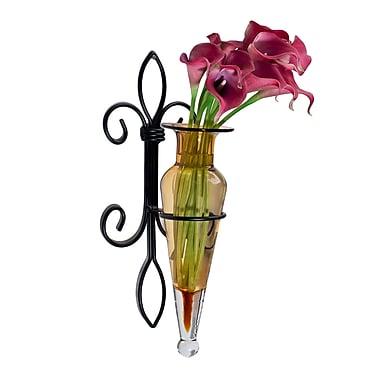 Danya B A043-A Wall Amphora Vase on Fleur Lys Sconce, Amber