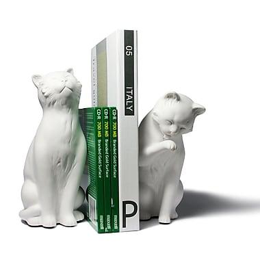Danya B CSK8022B Cat Bookend Set, White