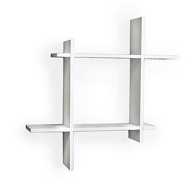 Danya B FF6014W Asymmetric Laminate Square Floating Wall Shelf, White