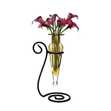 Danya B MC751-A Amphora Glass Flower Vase on Swirl Metal Stand, Amber