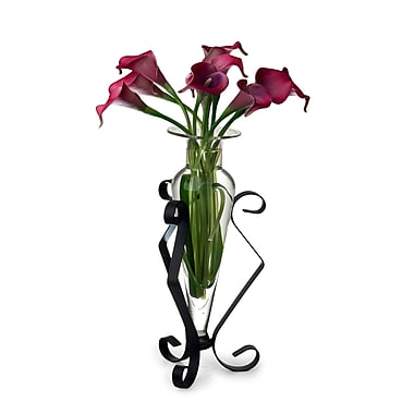 Danya B MC752-C Amphora Glass Vase on Metal Stand, Clear
