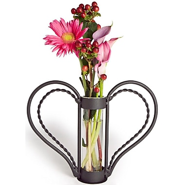 Danya B QB105 Iron Heart-shaped Sweetheart Flower Vase, Clear