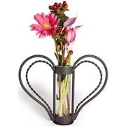 Danya B QB105 Iron Heart-shaped Sweetheart Flower Vase, Clear