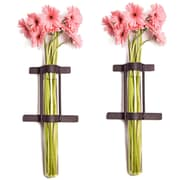 Danya B QB201-2 Set of 2 Wall Mount Cylinder Glass Vases with Rustic Rings Metal Stand