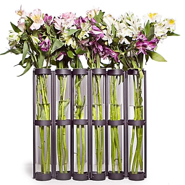 Danya B QB380 Tall Six Tube Hinged Vase, Brown