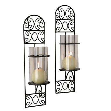 Danya B QBA568 Set of 2 Metal Filigree Wall Sconces - Madeira, Black