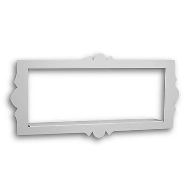 Danya B WL-02W Scalloped Frame Rectangular Metal Floating Shelf, White