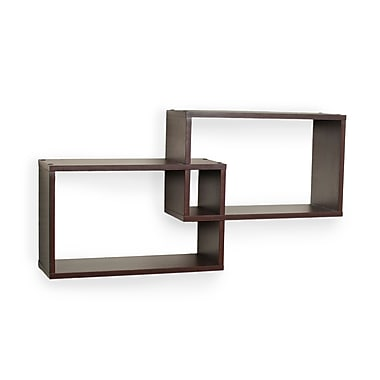 Danya B XF11034 Intersecting Walnut Rectangular Shelves