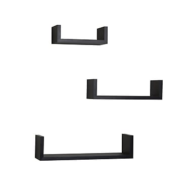 Danya B XF11039BK Set of 3 Floating 'U' Laminated Shelves, Black