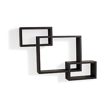 Danya B YU008 Intersecting Laminate Wall Shelf, Espresso