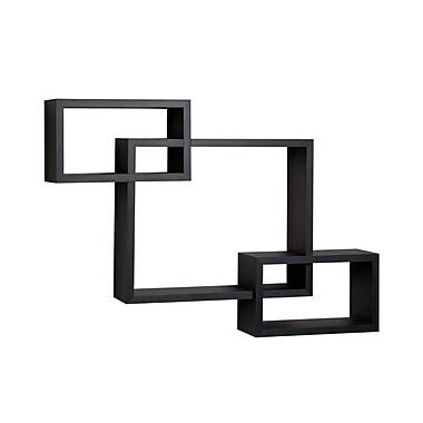 Danya B YU008BK Intersecting Laminate Wall Shelf, Black