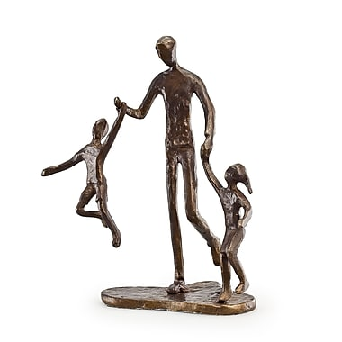 Danya B ZD12075 Father with Two Children Bronze Sculpture