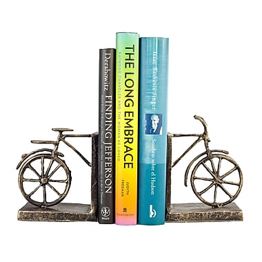 Danya B ZI12031 Bicycle Iron Bookend Set, Brown/Gold