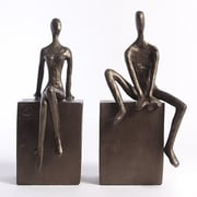 Danya B ZI8051 Man and Woman Sitting on a Block Bookend Set, Brown/Gold