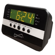 Supersonic® SC-374 Digital Alarm Clock With AM/FM Radio, Black