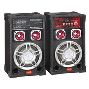 Supersonic® IQ-3005DJ Pair of Powered 6 Professional Speakers, Black