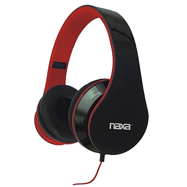 Naxa® Pro Headphones, Black/Red