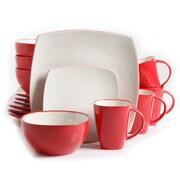 Gibson Home Soho Lounge Dinnerware Set, 16 Piece, White/Red