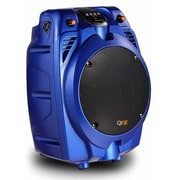 QFX® PBX-706100BT Portable Battery Powered Bluetooth Karaoke Tailgate Speaker With FM Radio, Blue