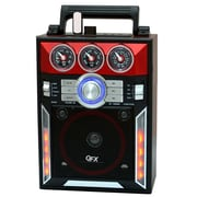 QFX® CS-145 Karaoke Multimedia Speaker AM/FM/SW1-2 Band/Disco Light, Red