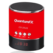 QFX® CS-20US 3 W Portable Multimedia Speaker With USB/Micro SD/FM Radio, Red