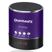 QFX® CS-20US 3 W Portable Multimedia Speaker With USB/Micro SD/FM Radio, Purple