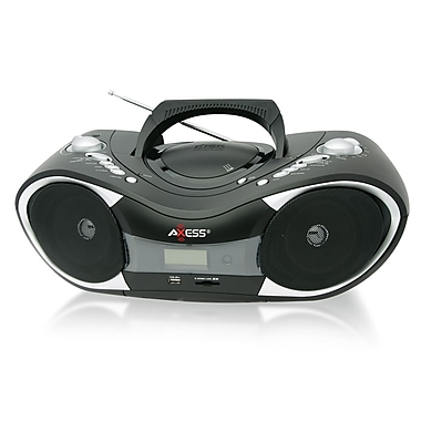 Axess® PB2707 Portable Boombox MP3/CD Player With Text Display/AM/FM Stereo/SD/MMC/AUX Inputs, Black