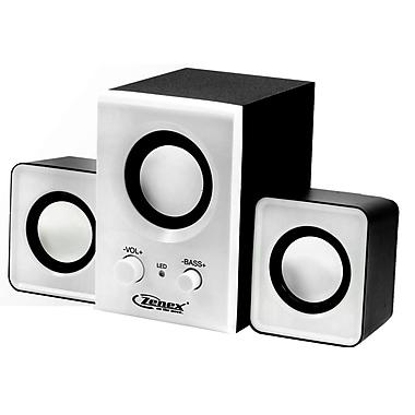 Zenex® 93588024M 2.1 Channel USB Power Speaker System, White