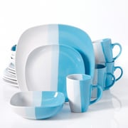Gibson Surreal Hues Square Dinnerware Set, 16 Piece, Blue