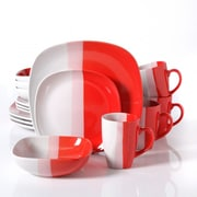 Gibson Surreal Hues Square Dinnerware Set, 16 Piece, Red