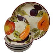Gibson Everyday Bountiful Fruits Durastone Pasta Bowl, 5 Piece Set