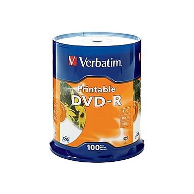 Verbatim® 4.7GB 16X Inkjet Printable DVD-R, Spindle, 100/Pack