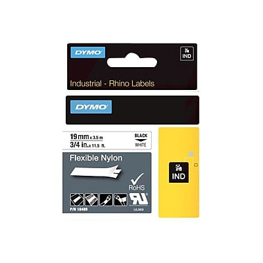 Dymo® RhinoPro 18489 0.75in.(W) Flexible Wire and Cable Label Tape, Black On White