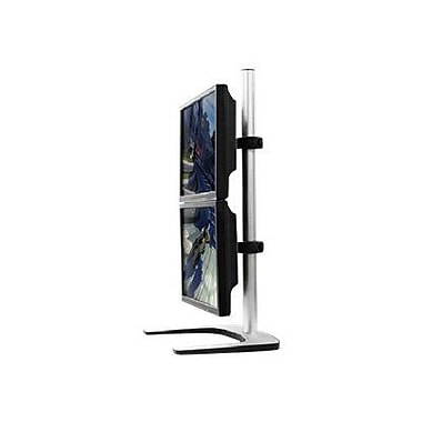 Visidec Silver Steel/Aluminum Up To 26 1/2 lbs. Freestanding Dual Display Vertical Monitor Stand