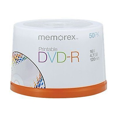 Memorex 04755 4.7 GB White Inkjet Printable DVD-R Spindle, 50/Pack