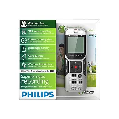 Philips DVT1400 Voice Tracer Digital Recorder With 2 Mic Stereo Recording
