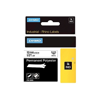 Dymo® RhinoPro 18483 0.5in.(W) Wire and Cable Label Tape, Black On White