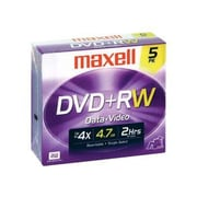 Maxell® 4.7GB DVD+RW, Jewel Case, 5/Pack